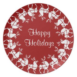 Christmas Plate Personalized Red Reindeer Plate