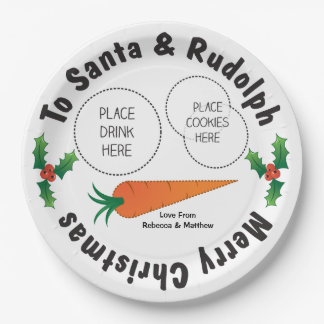 Christmas Plate Santa & Rudolph Personalised Kids