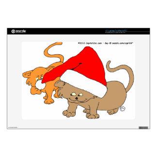 "Christmas Playful Kitties in Santa Hat Skins For 15"" Laptops"