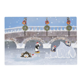 Christmas, Playful Penguins on Frozen Lake Placemat