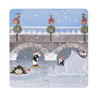 Christmas, Playful Penguins on Frozen Lake Puzzle Coaster