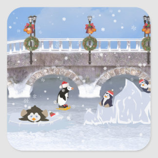 Christmas, Playful Penguins on Frozen Lake Square Sticker