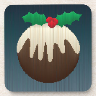Christmas Plum Pudding in Stripes Coasters