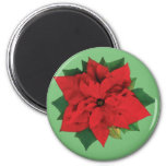 Christmas Poinsetta 2 Inch Round Magnet