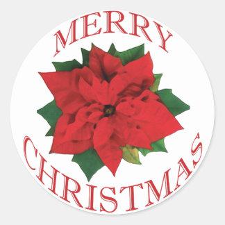 Christmas Poinsetta Classic Round Sticker