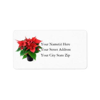 Christmas Poinsettia Address Label