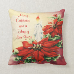 Christmas Poinsettia and Candle Throw Pillow