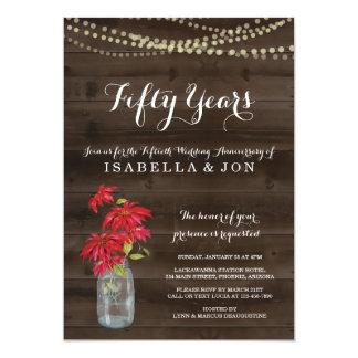 Christmas Poinsettia Anniversary Party Invitation