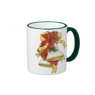 Christmas Poinsettia Bells Mugs