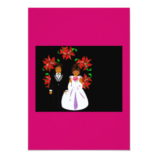 Christmas Poinsettia Black And Grey Personalized Invitation