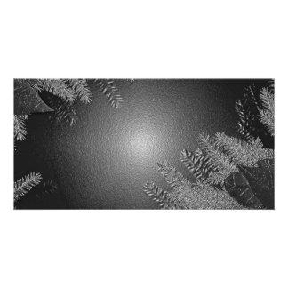 Christmas Poinsettia Black And Grey Custom Photo Card