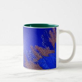Christmas Poinsettia Blue II Two-Tone Coffee Mug