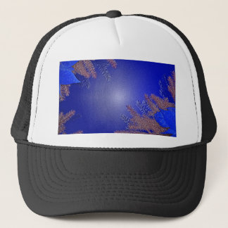 Christmas Poinsettia Blue Trucker Hat
