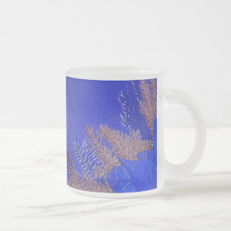 Christmas Poinsettia Blue VI Frosted Glass Coffee Mug