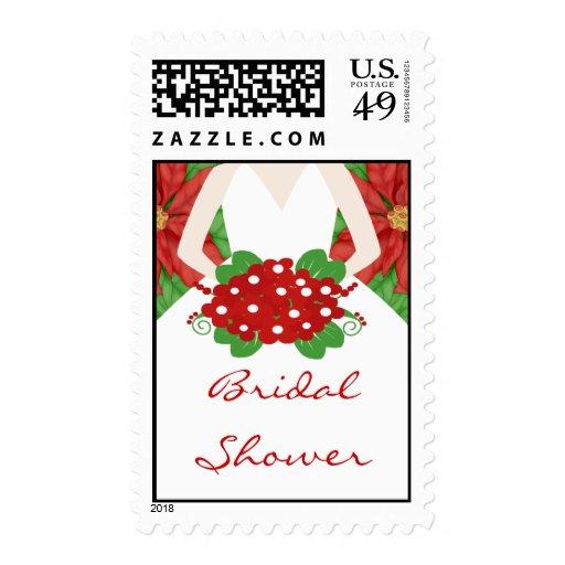 Christmas Poinsettia Bride Bridal Shower Stamp