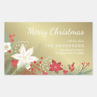 Christmas Poinsettia Faux Gold Foil Return Address Rectangular Sticker