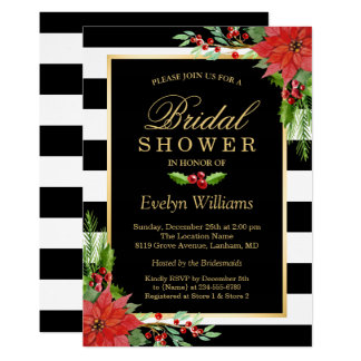 Christmas Poinsettia Floral Striped Bridal Shower Invitation