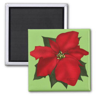Christmas Poinsettia Flower Magnet