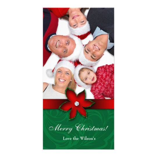 Christmas Poinsettia Flower Photo Card Red Green