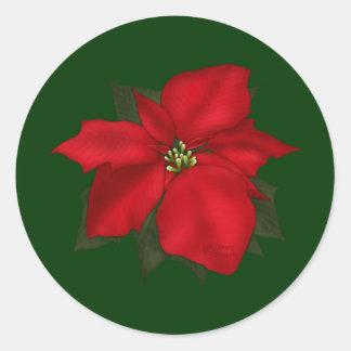 Christmas Poinsettia Flower Round Sticker