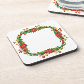 Christmas Poinsettia Garland Coasters (set of 6)