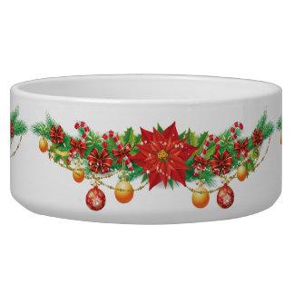 Christmas Poinsettia Garland Large Pet Bowl