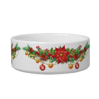 Christmas Poinsettia Garland Medium Pet Bowl
