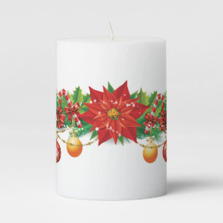 Christmas Poinsettia Garland Pillar Candle