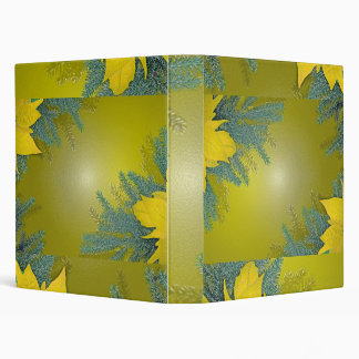 Christmas Poinsettia Gold 3 Ring Binder