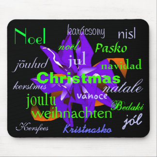 Christmas Poinsettia In Blue From Around The World Mouse Pad