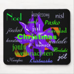 Christmas Poinsettia In Blue From Around The World Mousepad