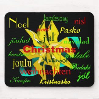Christmas Poinsettia In Gold Around The World Mouse Pad