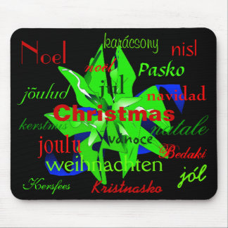 Christmas Poinsettia In Green Around The World Mouse Pad
