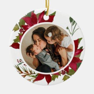 Christmas Poinsettia Joyeux Noël Photo Ceramic Ornament