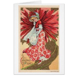 Christmas Poinsettia Lady Card