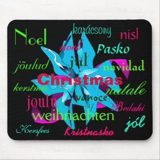 Christmas Poinsettia Light Blue Around The World Mouse Pad