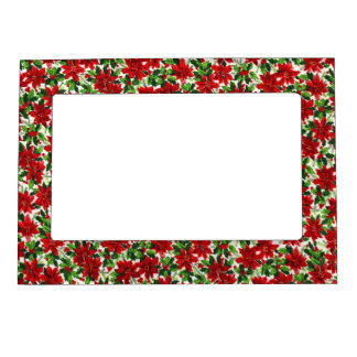 Christmas Poinsettia Pattern Magnetic Frame