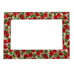 Christmas Poinsettia Pattern Photo Frame Magnets