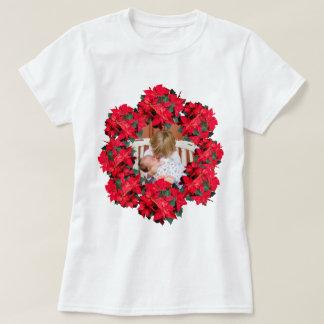 Christmas Poinsettia Photo Frame T-Shirt
