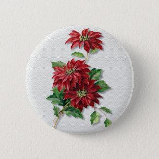 Christmas Poinsettia Pinback Button