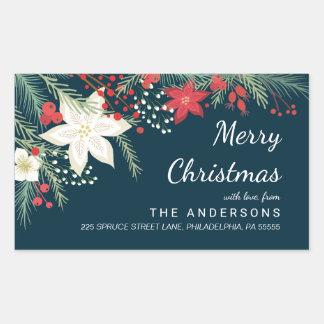 Christmas Poinsettia & Pine Branch Return Address Rectangular Sticker