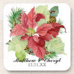 Christmas Poinsettia Pine Cone Gift Personalized Drink Coaster