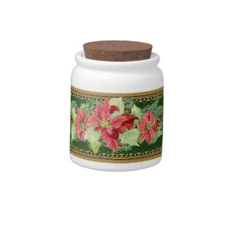 Christmas Poinsettia Pine Cone Gold Candy Jar