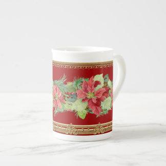 Christmas Poinsettia Pine Cone Gold Golden Mug Bone China Mugs