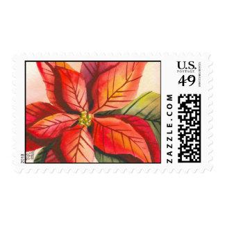 Christmas Poinsettia Postage Stamp
