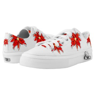 Christmas Poinsettia Printed Shoes