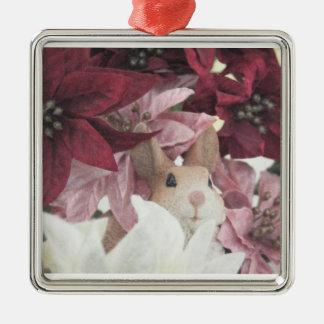 Christmas Poinsettia Rabbit Metal Ornament