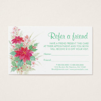 Christmas poinsettia refer a friend business cards