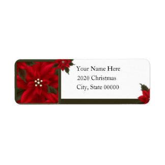 Christmas Poinsettia Return Address Return Address Label