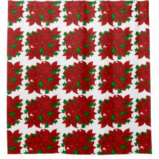 Christmas Poinsettia Shower Curtain